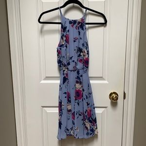 Floral Halter Pleated Wedding Guest Dress